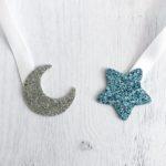 étoile bleu pailletté - lune argent pailletté
