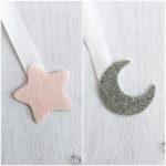 étoile rose mat - lune argent pailletté