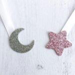 étoile rose gold - lune argent pailletté