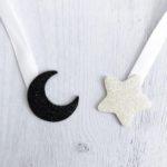 étoile blanche pailletté - lune noir pailletté