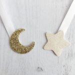 étoile blanche pailletté - lune or pailletté